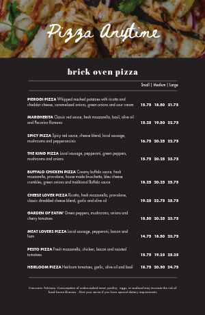 Classic Pizza Tabloid Menu