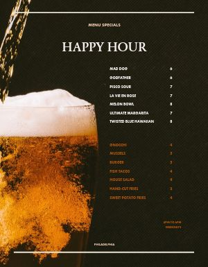 Sports Bar Happy Hour Menu