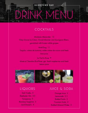 Pink Urban Bar Menu