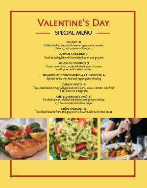 Simple Valentine's Day Specials Menu