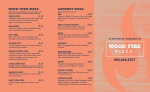 Craft Pizza Takeout Menu