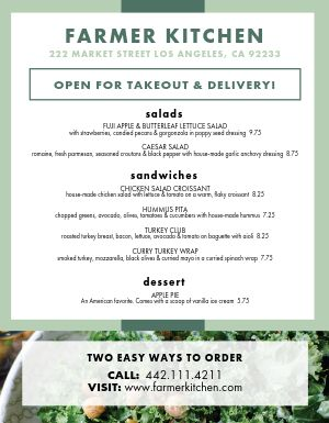 Healthy Takeout Menu