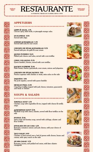 Red Mexican Menu