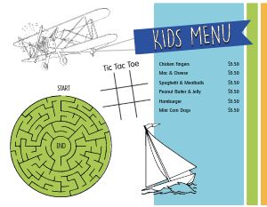 Adventure Kids Menu