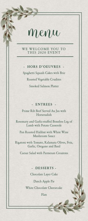 Classic Private Event Half Page Menu