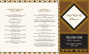 Plain African Takeout Menu