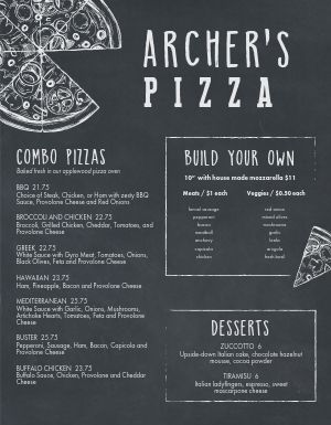 Italian Pizza Build Menu