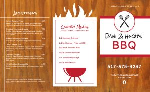 Example BBQ Takeout Menu