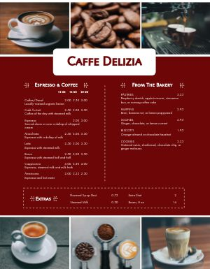 Italian Coffee Menu