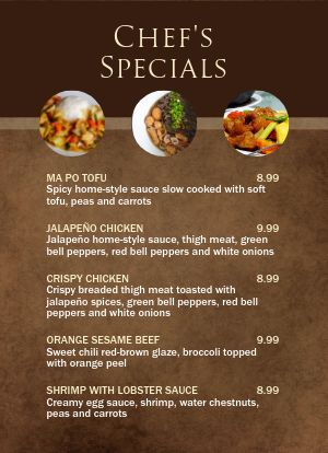 Chef Specials Tabletop Insert