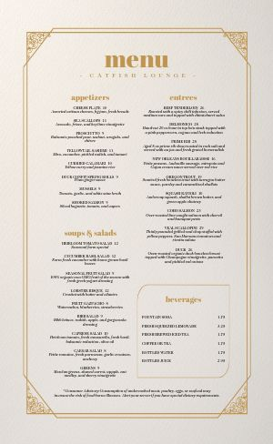 Golden Filigree Fine Dining Menu