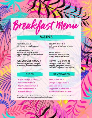 Colorful Breakfast Menu