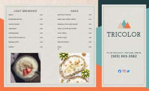Contemporary Diner Takeout Menu