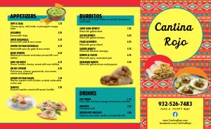 Colorful Mexican Restaurant Takeout Menu