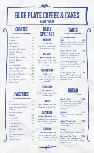 Blue Bakery Menu