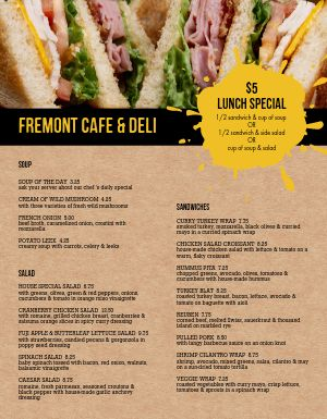 Cafe Deli Menu