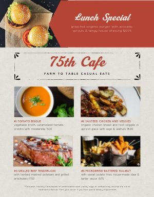 American Lunch Promo Menu