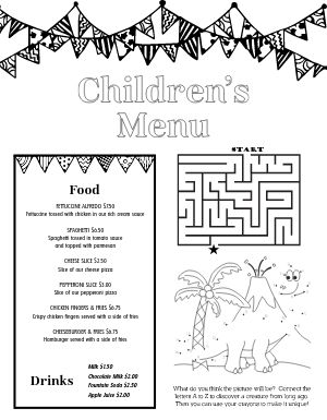 Coloring In Kids Menu