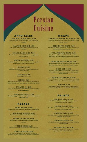 Essential Middle Eastern Menu