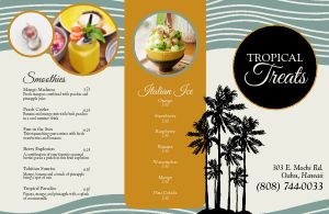 Tropical Dessert Folded Menu