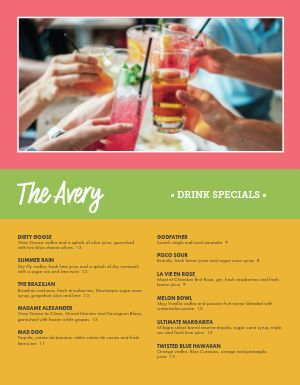 Specialty Bar Menu