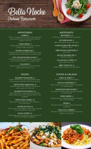 Rustic Fresh Italian Menu