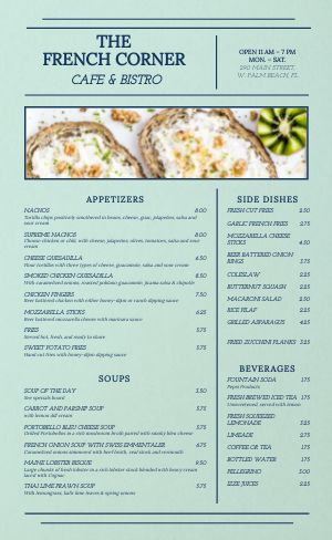 French Corner Cafe Menu
