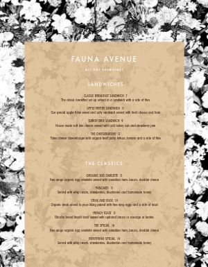 Floral Breakfast Menu