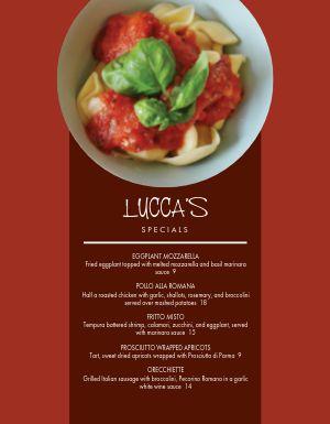 Specialty Italian Menu