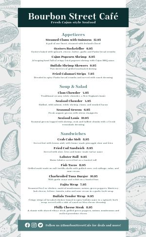 Cajun Style Seafood Menu