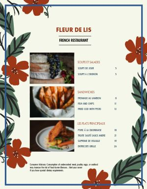 Floral French Menu