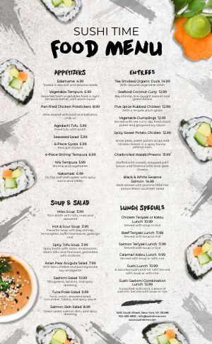 Sushi Japanese Menu