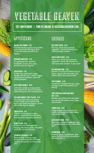 Vegan Dine In Menu
