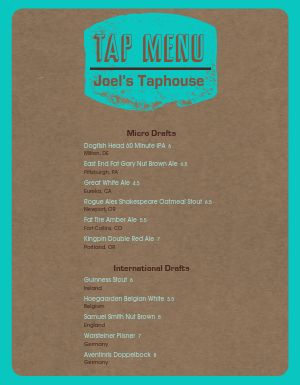 Original Taphouse Menu