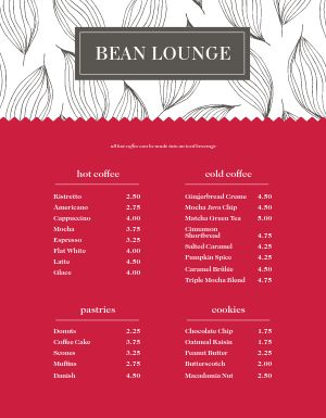 Sign Coffee Menu