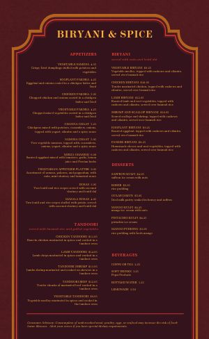 Red Middle Eastern Menu