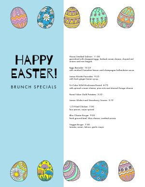 Easter Egg Specials Menu