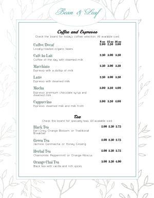 Cafe Espresso Menu