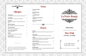 Southern Fine Dining Folded Menu
