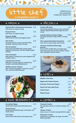 Chef Fun Breakfast Menu