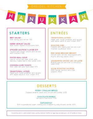 Colorful Hanukkah Menu