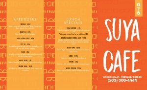 Sample African Cafe Takeout Menu