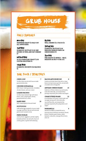 Sample Beer Menu
