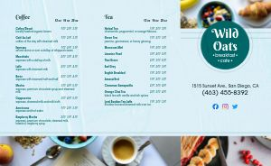 Oats Cafe Breakfast Takeout Menu