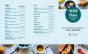 Oats Cafe Breakfast Takeout Menu