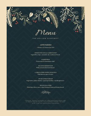 Chevron Christmas Menu