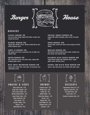 Chalkboard Burger Menu