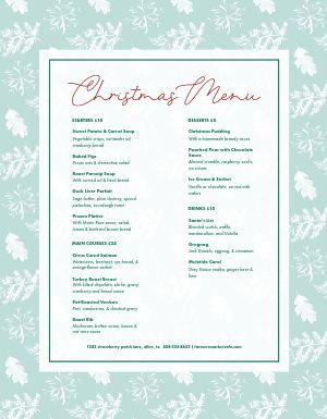 Baby Blue Christmas Menu