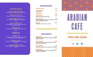 Contemporary Middle Eastern Takeout Menu