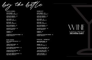 Sample Wine List Folded Menu